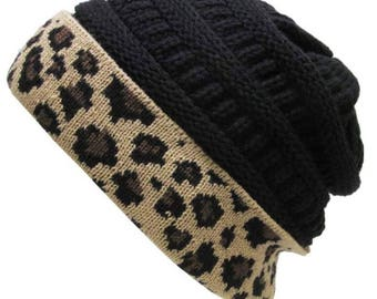 Leopard Fold Up Beanie Black