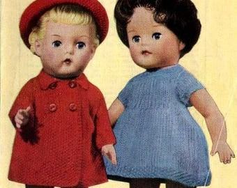 Pdf vintage Knit Doll Clothes Bestway 3341 for 10, 12 and14 inch Dolls instant download knitting pattern
