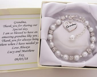 Grandma Wedding Bracelet  grandma Bracelet Grandma Gift gift for grandma from the bride wedding pearls pearl bracelet grandma wedding gift