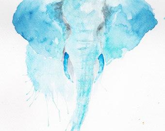 Blue Elephant Watercolour Print