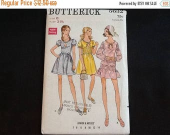 Butterick pattern 5632. Vintage uncut 1970 misses' & junior A-line mini or above knee dress with short puff sleeves or long sleeves. Sz. 7,