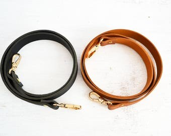 Replacement purse strap, leather replacement strap, Vegetable tanned leather belt, Lobster clasp fastening