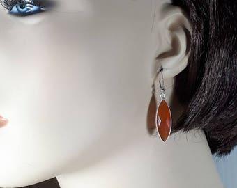 Long carnelian earrings, faceted marquise shape, set in 92.5 sterling silver