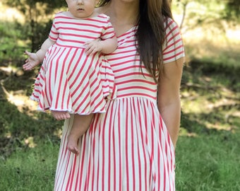 Mommy and Me Dress, Mother Daughter Matching Dresses, Mommy and Me Set, Mother's Day, Girls Dress, Ladies Dress, Striped Dress, Summer Dress