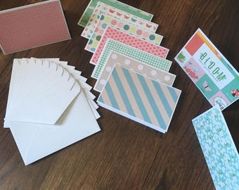 Mini Card Pack, Mini Notecards, Set of 10, Mini Envelopes,