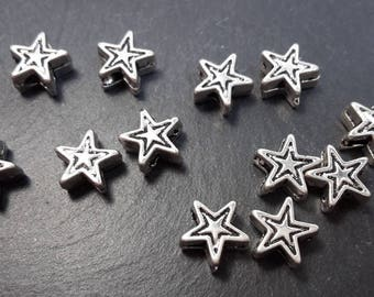 Spacer beads small stars, stars in silver, 6 x 4 mm beads