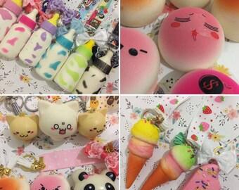 Baby bottle squishy emoji  panda, cat, slow rising bottle kawaii squishies ice cream squishes cat keychain