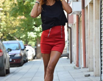 Neoprene Elegant Shorts, Red Fitted Shorts, Pants with Hight Waist, Party Zippers Shorts, Summer Office Shorts by SSDfashion