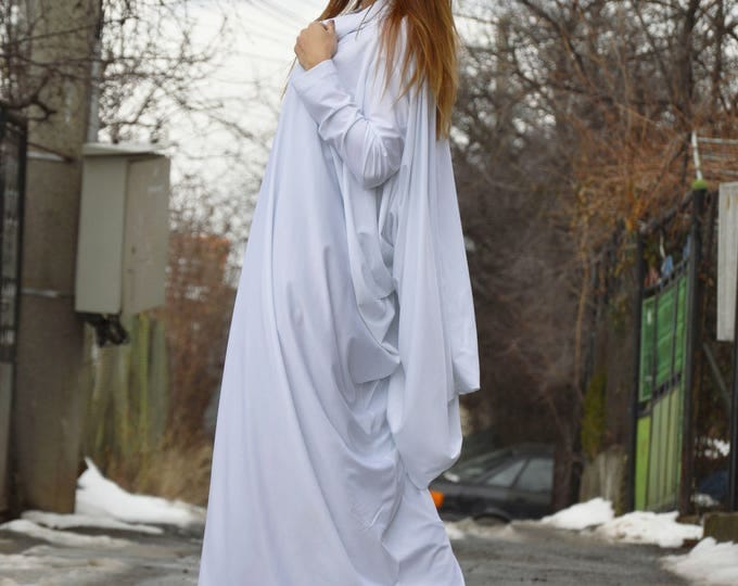 New White Turtleneck Maxi Dress, Asymmetric Long Sleeve Dress, Casual Long Everyday Kaftan, Extravagant Loose Dress by SSDfashion