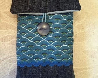 Denim and blue quilted case cover