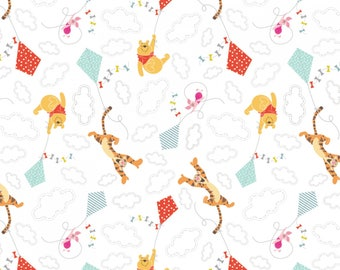 Winnie The Pooh & Friends Flying Kites Cotton Woven, Winnie the Pooh Fabric, Winnie the Pooh Material, Winnie the Pooh Quilt Fabric, Cotton