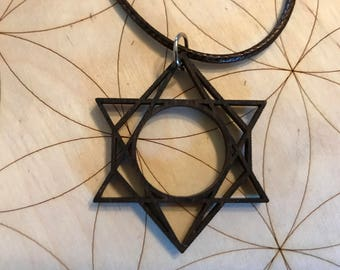 Sacred Geometry Wooden Pendant - Stained Dark - Birch Wood