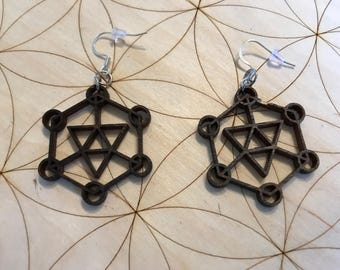 Sacred Geometry Wooden Earrings - Stained Dark - Birch Wood