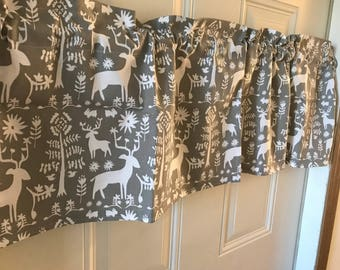 Premier Prints Promise Land gray and white deer curtain Valance