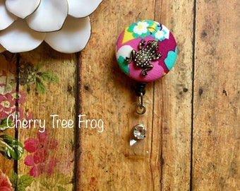 Sweet Cherry Tree Frog-Nurse Retractable ID Badge Reel/ RN Badge Holder/Doctor Badge Reel/Nurse Badge Holder/Nursing Student Gift