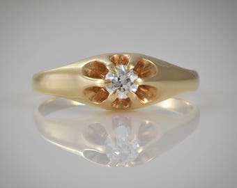 Antique Victorian 14K Belcher Style, Buttercup Yellow Gold and .27 ct Diamond 6 prong Engagement, Anniversary/Wedding/Right Hand Ring  MS166