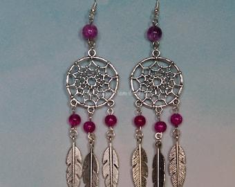 Dream catcher earrings-pink dreams