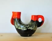 Retro rooster vase, vintage ceramic vase, studio pottey vase, retro vase, 70s vase, abstract vase, CAS36