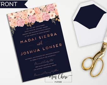 Navy and Blush Rose Gold Floral Wedding Invitation   Navy Wedding Invite   Wedding Invitation Rose Gold Effect Wedding Invitation Printable