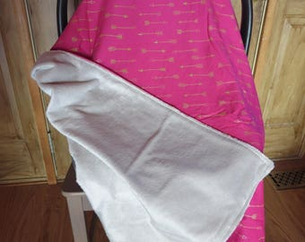 Car Seat Canopy- Car Seat Cover- Pink with Gold Arrows