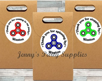 Set of 12 Fidget Stickers, Spinners Favor Bag Stickers, Goodie Bag Thank You Spinner Stickers, Please Send Name to Personalize for FREE