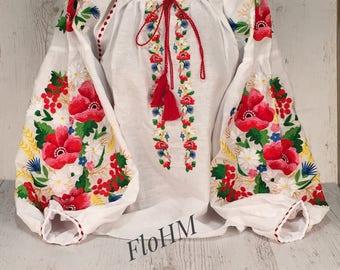 Embroidered Ukrainian Blouse Vyshyvanka, Boho Style, Boho Linen Blouse
