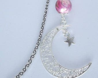 Wave bookmark silver metal Moon under a pink effect bead pendant