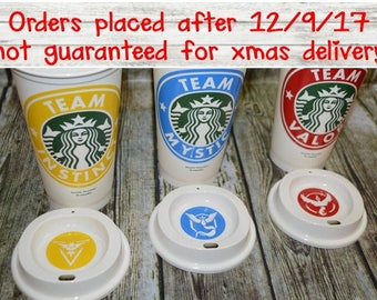 Pokemon GO Team Mystic, Team Instinct, Team Valor Cup - Genuine Reusable Starbucks Coffee Cup, Mug, Tumbler [personalized pokemon gift idea]