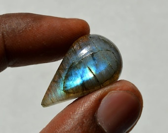 25 Cts Natural Blue Fire Labradorite Cabochon Both Side Polished Pear Shape Labradorite Loose Gemstone 27x16x8 MM R12500