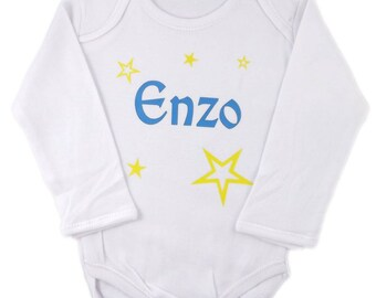Onesie personalized boy, yellow stars.