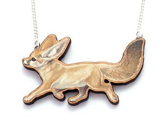 Fennec Fox wooden Necklace