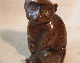 "6"" Heavy Bronze Finish MONKEY Meiji Style Chimp Otagiri OMC Japan Statue Metal  Free Shipping"