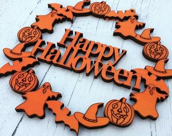 Happy Halloween door weath, Halloween decoration, Halloween door hanger, Halloween party, Halloween Wreath