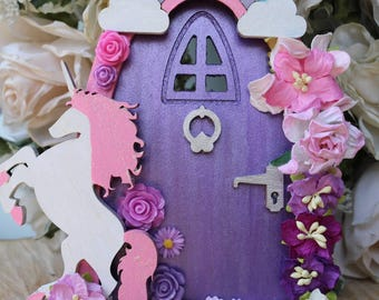 Handmade Unicorn Themed Fairy Door -
