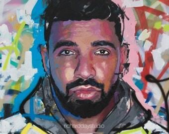 "Drake, Original Painting, 40"", 52"", Art, Music, Rap, Hip Hop, Canvas, Graffiti, Richard Day"