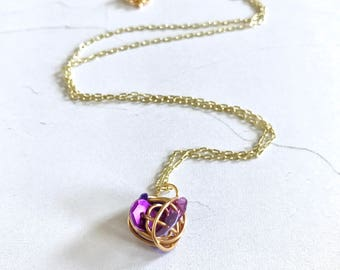 Small purple sequins wire wrapped gold necklace