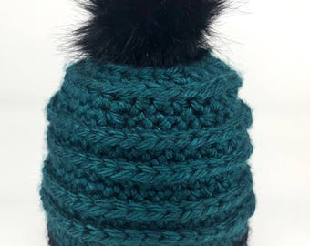 Teal and Black Knit Beanie with Pom Pom - Slouchy Jewel Tone Textured Knitted Hat Cap with Faux Fur Pompom