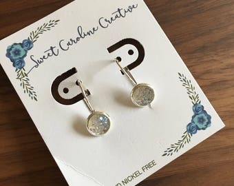 Tiny Dangle Earrings. Silver Plated, 8mm round.