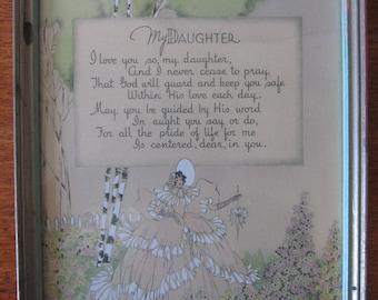 """Vintage """"My Daughter"""" Framed Poem"""