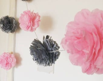 Maxi Pom Style Paper Flower Garland - Double Sided - Party Decor - Paper Decor - Wedding - Party - Event - Nursery Decor - Home