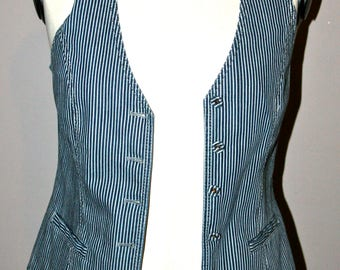 Vintage Vest Drykorn striped denim/vintage striped denim vest by Drykorn