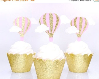 ON SALE Hot Air Balloon Cupcake Toppers - Up Up And Away Cup Cake Toppers - Hot Air Balloon Birthday Party Decor - Baby Shower Cupcake Toppe