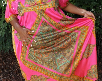 80's Pink Boho Maxi Ethnic Kaftan Style Dress