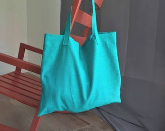 Large Linen Beach Bag in Deep Turquoise Green; Large Tote; Shopper; Market Bag