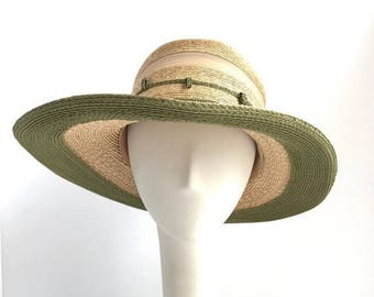 SALE Straw Planters Wide Brim Sun Hat with Moss Trim