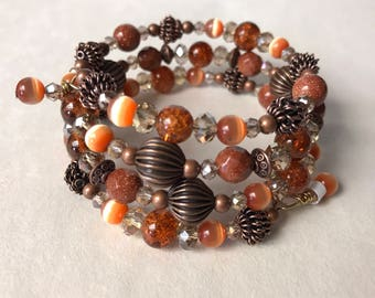 Copper Goldstone Bracelet, Crystal Bracelets, Rustic Orange bracelet, Handmade Bracelets, memory wire Bracelet, Beaded bracelets