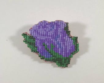 Beaded Valentine Rose Pin, Purple, Lavender, and Green Enchanted Rose Brooch, Off Loom Style, Flower Jewelry, Gift for Her, Mothers Day