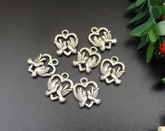 10PCS 20x15mm Silver Love Pigeon Charms 2 Sided-p1390