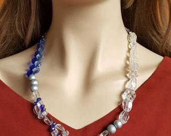 CLEARANCE Blue Silver Bead Necklace