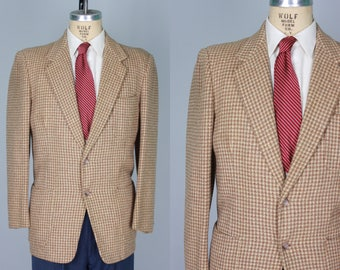Vintage 1950s Men's Sport Coat | Neutral Tone Houndstooth Jacket with Patch Pockets | Size 40